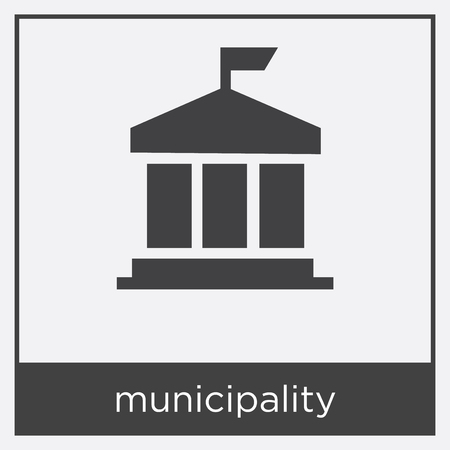 Municipality icon isolated on white background with black border Ilustração