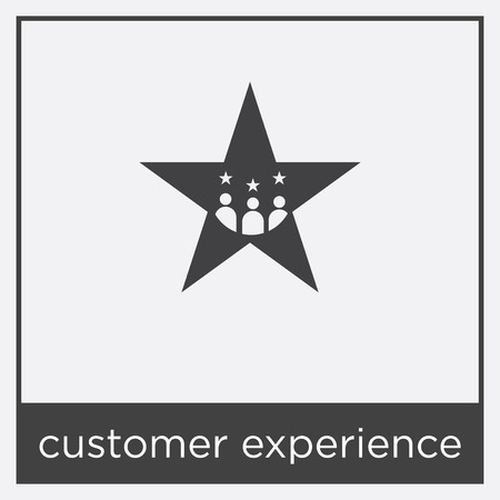 Customer experience icon isolated on white background with black border