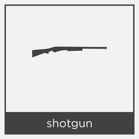 Shotgun icon isolated on white background with black border Ilustração