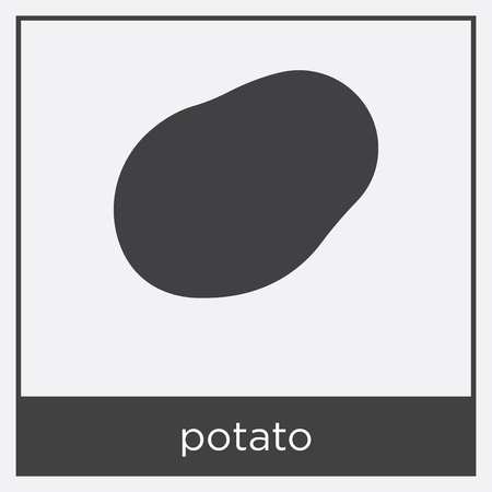 potato icon isolated on white background with black border Illustration