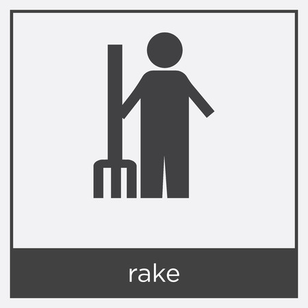 Man with rake icon isolated on white background with black border