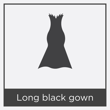 Long black gown icon isolated on white background with black border