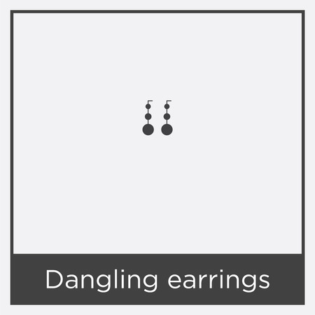 Dangling earrings icon isolated on white background with black border