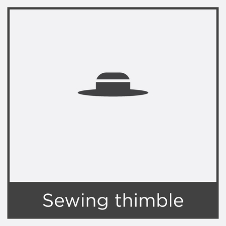 Sewing thimble icon isolated on white background with black border