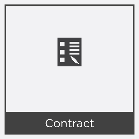 Contract icon isolated on white background with black border.