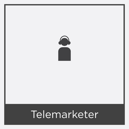 Telemarketer icon isolated on white background with black border Vectores