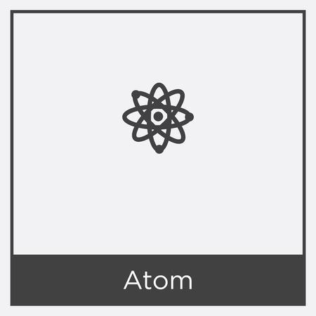 Atom icon isolated on white background with black border