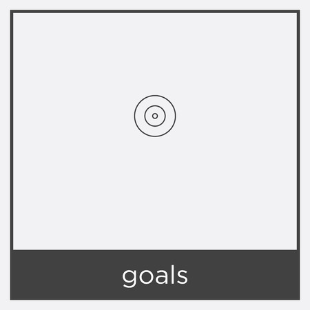 goals icon isolated on white background with black border Ilustrace