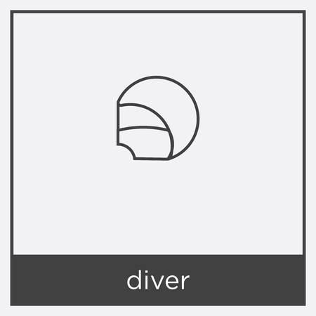diver icon isolated on white background with black border