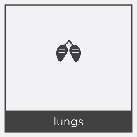 lungs icon isolated on white background with black border
