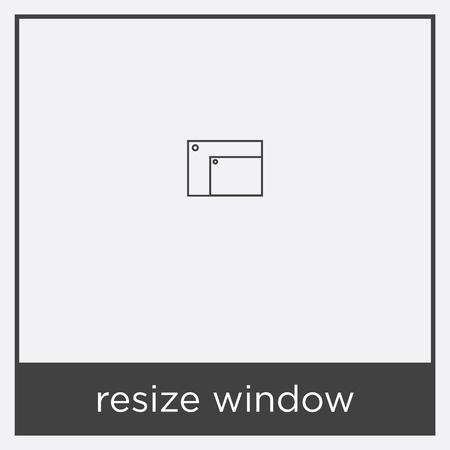 resize window icon isolated on white background with black border Çizim