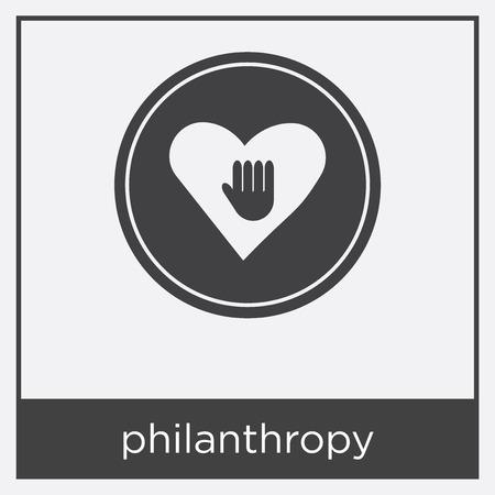 Philanthropy icon isolated on white background with black border