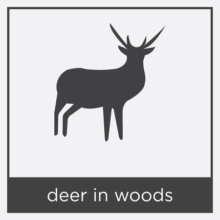 deer in woods icon isolated on white background with black border