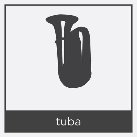 Tuba icon isolated on white background with black border. Vectores