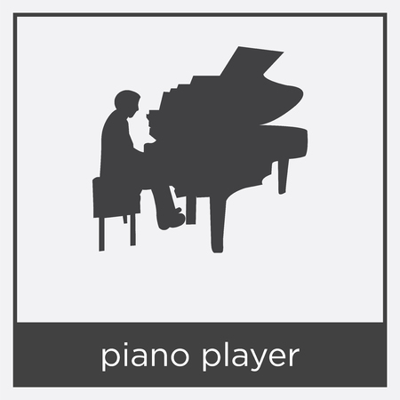 Piano player icon isolated on white background with black border.