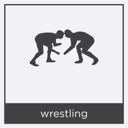 Wrestling icon isolated on white background with black border. Stock Illustratie