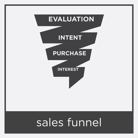 Sales funnel icon isolated on white background with black border.