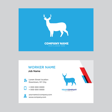 Whitetail buck design business card template in front and back illustration. Illustration