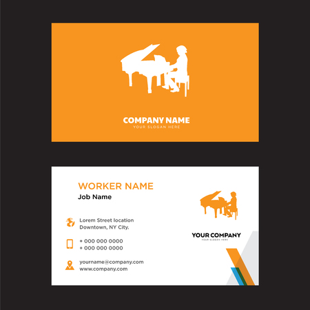 Pianist Design Business Card Template In Front And Back Illustration