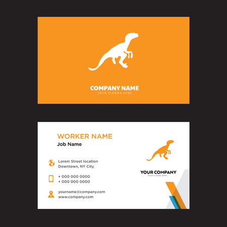 Velociraptor design business card template in front and back illustration.
