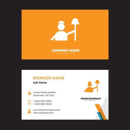 Worker business card design template in front and back illustration. Illustration