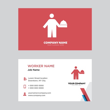 Food server business card design template in front and back illustration. Ilustração
