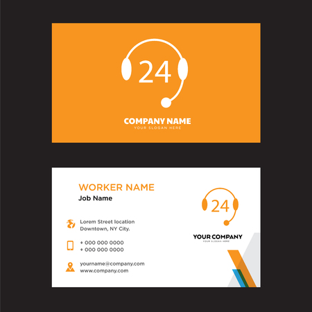 24 support business card design template, Visiting for your company, Modern Creative and Clean identity Card Vector Illustration