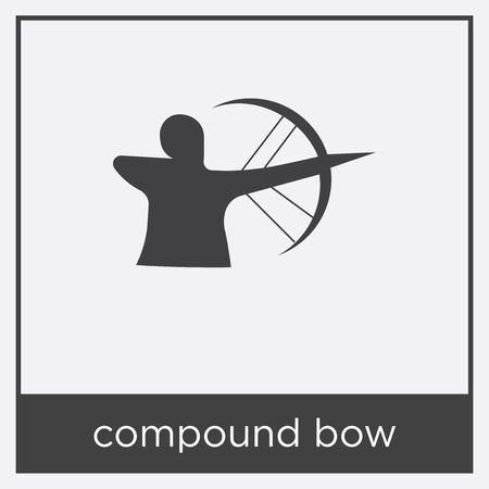 compound bow icon isolated on white background with gray frame, sign and symbol