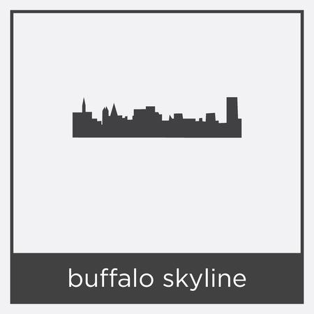 buffalo skyline icon isolated on white background with gray frame, sign and symbol Illustration