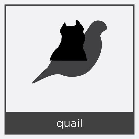 quail icon isolated on white background with gray frame, sign and symbol Ilustração