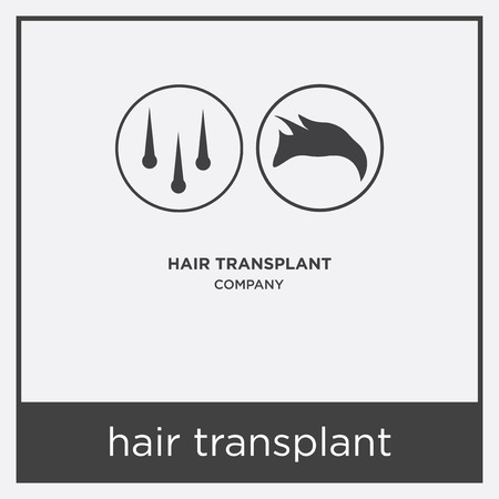 hair transplant icon isolated on white background with gray frame, sign and symbol Ilustrace