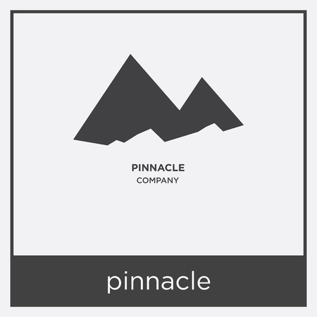 pinnacle icon isolated on white background with gray frame, sign and symbol
