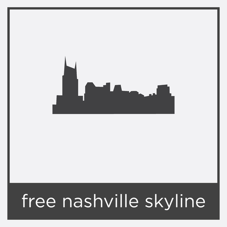 Free Nashville skyline icon isolated on white background with gray frame, sign and symbol.