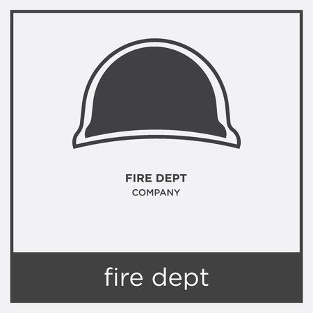 Fire department icon isolated on white background with gray frame, sign and symbol.