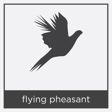 flying pheasant icon isolated on white background with gray frame, sign and symbol