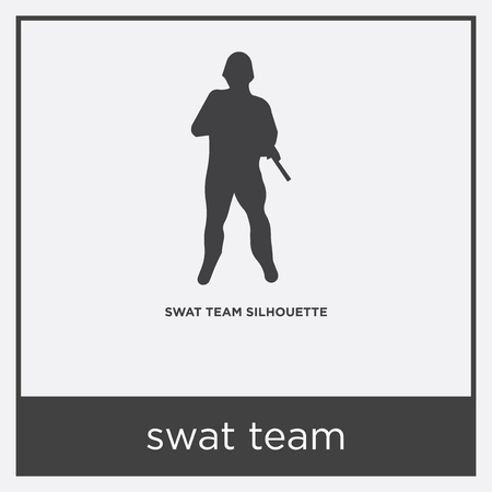 swat team icon isolated on white background with gray frame, sign and symbol 일러스트