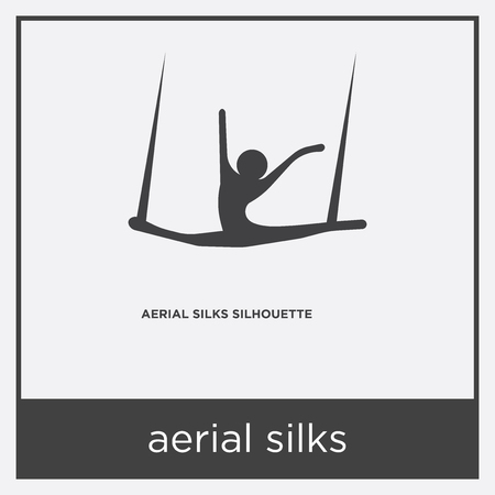 Aerial silks icon isolated on white background with gray frame, sign and symbol.