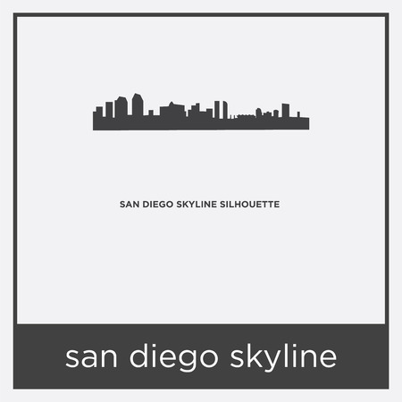 San Diego skyline icon isolated on white background with gray frame, sign and symbol.
