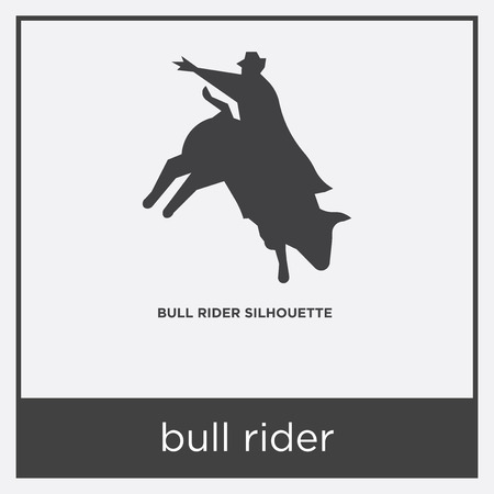 bull rider icon isolated on white background with gray frame, sign and symbol