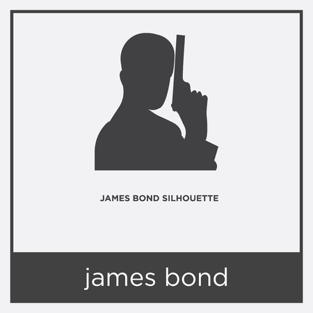 james bond icon isolated on white background with gray frame, sign and symbol