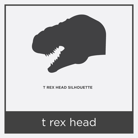 T-rex head icon isolated on white background with gray frame, sign and symbol.