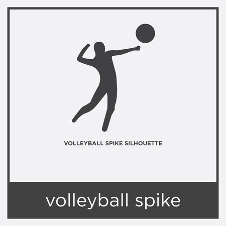 volleyball spike icon isolated on white background with gray frame, sign and symbol
