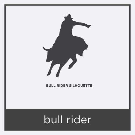 Bull rider icon isolated on white background with gray frame, sign and symbol.