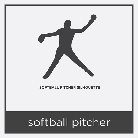 softball pitcher icon isolated on white background with gray frame, sign and symbol