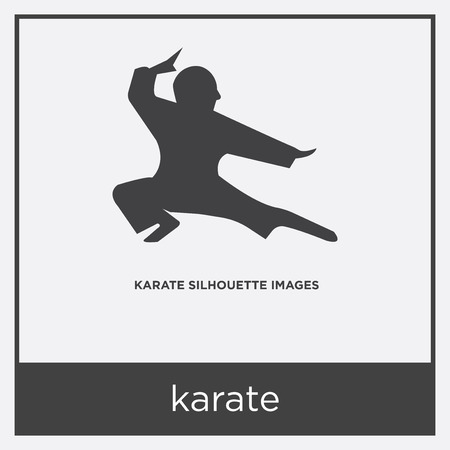 karate icon isolated on white background with gray frame, sign and symbol