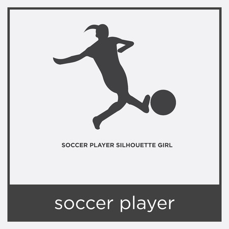 Soccer player icon isolated on white background with gray frame, sign and symbol.