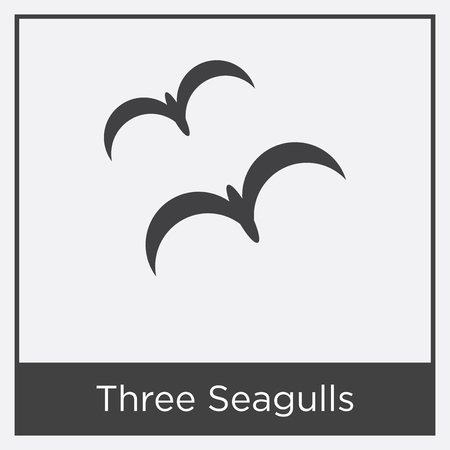 Three Seagulls icon isolated on white background with gray frame, sign and symbol Illustration