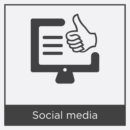 Social media icon isolated on white background with gray frame, sign and symbol
