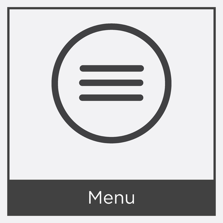 Menu icon isolated on white background with gray frame, sign and symbol.