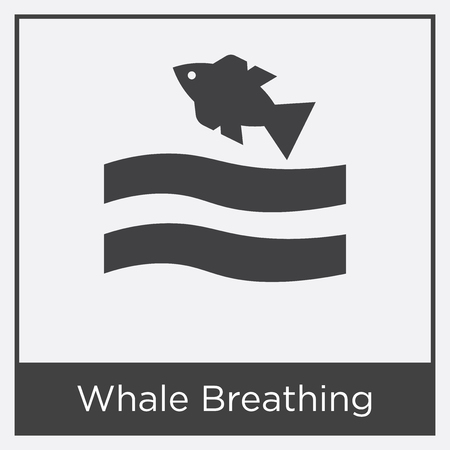 Whale breathing icon isolated on white background with gray frame, sign and symbol. Illustration